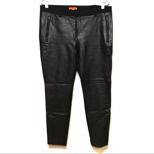 JOE FRESH BLACK FAUX LEATHER ZIPPER SKINNY PANTS